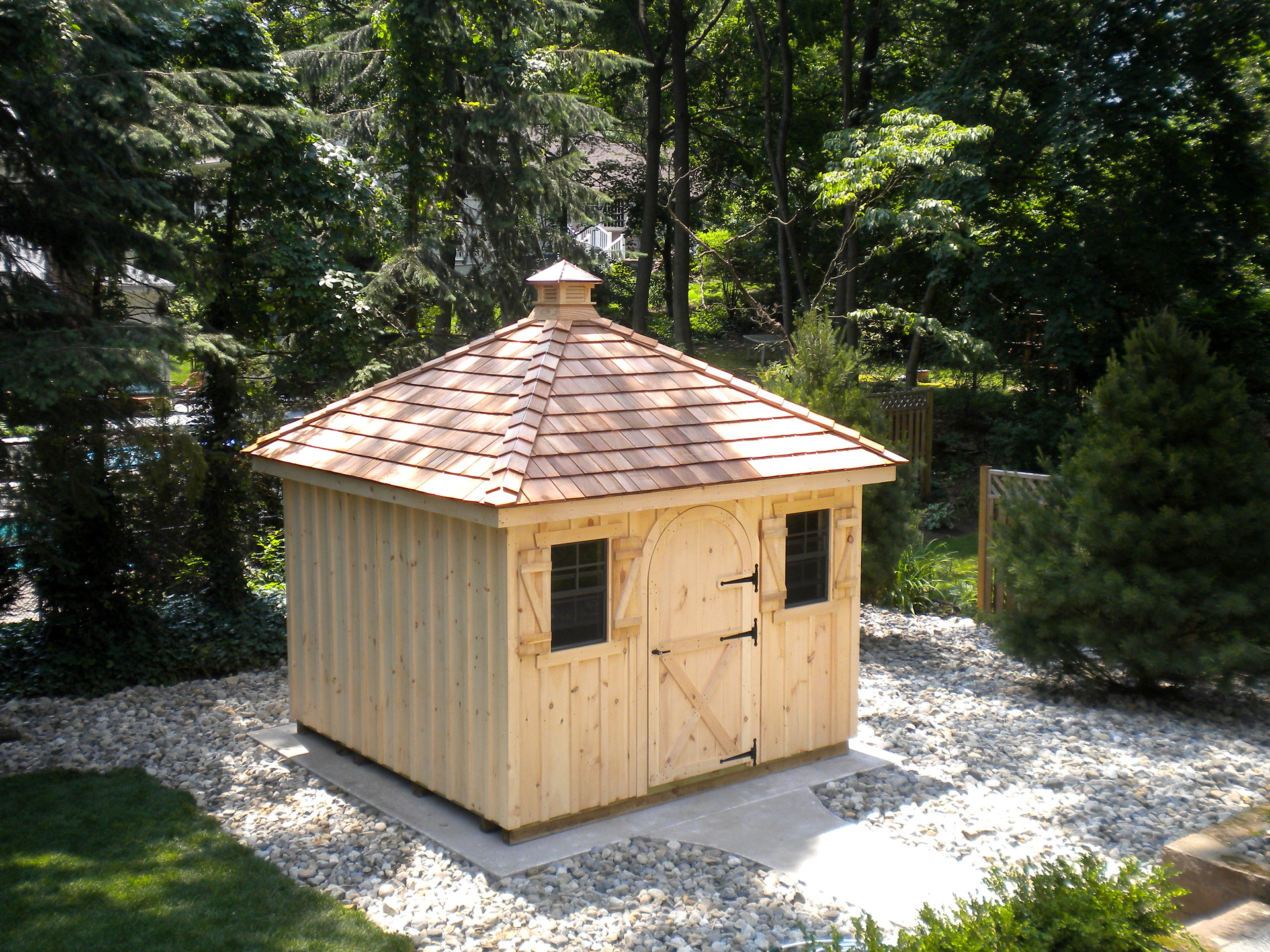 10x10 board batten garden shed hip roof